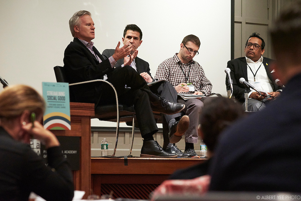Leading 'Organizations' Toward Resource Sharing<br /> <br /> This section presents case studies (positive/negative) and views of the issues from different practitioner vantages: leaders of resource sharing providers, donors, program organizations, funders, etc.<br /> <br /> Panelists: [L-R] Doug Bohr, Pew Charitable Trusts; Benjamin Berger, Political Science, Swarthmore College; Chris Mayack, Biology, Swarthmore College; Arun Prabhakaran, Urban Affairs Coalition; Syon Bhanot (Moderator) - Economics, Swarthmore College<br /> <br /> Nonprofits are increasingly asked to work collaboratively to achieve scale and impact.  Much has been covered on the legal and financial aspects of collaboration, but why is it still hard?  This symposium will bring together social science experts and nonprofit practitioners to learn from one another about how the latest research can inform the human dynamics that challenge nonprofit resource sharing.<br /> by The Nonprofit Centers Network & Culture Works<br /> April 28, 2016