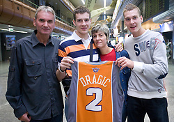 Basketball player Goran Dragic (with his family) leaving his home in Slovenia and have a flight to Phoenix, USA, where he has signed a contract for Phoenix Suns Team, NBA, on September 27, 2008, in Airport Jozeta Pucnika, Brnik, Slovenia.  (Photo by Vid Ponikvar / Sportal Images)