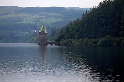 UK ENGLAND WALES LLANWDDYN 1JUL15 - Straining tower at Lake Vyrnwy near Llanwddyn in the river Severn catchment area.<br /> <br /> The nature reserve and the area around it are jointly managed by the Royal Society for the Protection of Birds (RSPB), and Severn Trent Water. The reserve is designated as a national nature reserve, a Site of Special Scientific Interest, a Special Protection Area, and a Special Area of Conservation.<br /> <br /> <br /> <br /> jre/Photo by Jiri Rezac / WWF UK<br /> <br /> <br /> <br /> © Jiri Rezac 2015