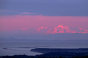 View of Mount Baker and the Dungeness Spit from Mount Pleasant, evening light, Washington, USA