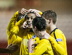 Falkirk's Lyle Taylor celebrates after scoring their third goal from a header..Airdrie United 1 v 4 Falkirk, 22/12/2012..©Michael Schofield.
