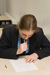 Student during a secondary school examination,