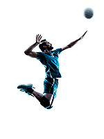 one caucasian man volleyball jumping in studio silhouette isolated on white background in studio silhouette isolated on white background