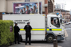 © Licensed to London News Pictures. 22/04/2018. Manchester, UK. The Royal Logistics Corps ( RLC ) Bomb Disposal team arrives . Police are responding to a suspect package at a premier Inn Hotel near to Victoria Station in Manchester City Centre . The bomb squad are in attendance and the hotel has been evacuated . Photo credit: Joel Goodman/LNP