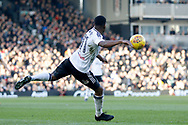 Fulham midfielder Floyd Ayite (11) tries a volley towards the top corner just before half time during the EFL Sky Bet Championship match between Fulham and Aston Villa at Craven Cottage, London, England on 17 February 2018. Picture by Andy Walter.
