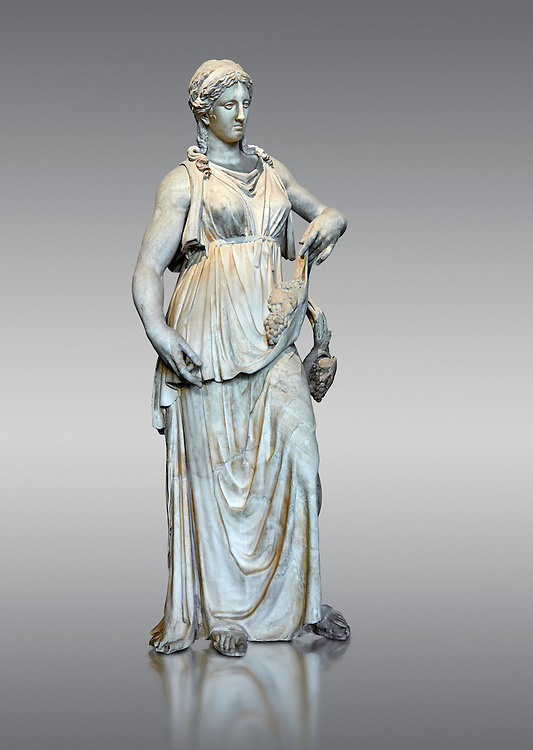 Bacchante or Ariadne, a Roman marble statue of circa 150 - 200 AD. The bunch of grapes wrapped in the folds of her garment suggest that the statue depicts either Bacchante or Ariadne both  companions of Dionysus. The statue belongs to a very limited series of replicas (Florence, Venice, Rome, Cyrene) reproducing a Greek original lost year circa 300 BC made by the school from Rhodes. The Borghese collection inv MR 102 ( or Ma 676), Louvre Museum Paris
