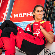 Leg 4, Melbourne to Hong Kong, day 18 on board MAPFRE, Sophie Ciszek looking at the horizon. Photo by Ugo Fonolla/Volvo Ocean Race. 18 January, 2018.