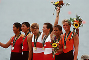 Atlanta, USA,  Gold Medallist CAN W2X, HEDDLE, Kathleen, MCBEAN, Marnie Elizabeth,  Silver Medallist  CHN W2XZHANG, Xiuyun, CAO, Mianying, Bronze Medallist NED W2X  EIJS, Irene and VAN NES, Eeke, on the awards dock after wiining the final at the 1996, Olympic Rowing Regatta at Lake Lanier, Gainsville Georgia,  [Photo Peter Spurrier/Intersport Images]