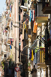 Building facade old balcony apartment laundry