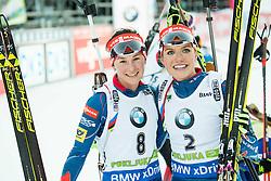 Veronika Vitkova (CZE) and Gabriela Soukalova (CZE)  during Women 12.5 km Mass Start at day 4 of IBU Biathlon World Cup 2015/16 Pokljuka, on December 20, 2015 in Rudno polje, Pokljuka, Slovenia. Photo by Vid Ponikvar / Sportida