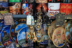 16th June 2017 - FIFA Confederations Cup - Souvenirs for sale on a stall in Saint Petersburg - Photo: Simon Stacpoole / Offside.
