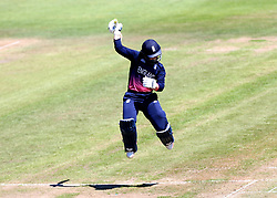 Tammy Beaumont of England Women celebrates reaching a century against South Africa Women - Mandatory by-line: Robbie Stephenson/JMP - 05/07/2017 - CRICKET - County Ground - Bristol, United Kingdom - England Women v South Africa Women - ICC Women's World Cup Group Stage