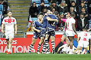 Scotland celebrate scoring the first try by Kane Linnett (4 North Queensland Cowboys) during the Ladbrokes Four Nations match between England and Scotland at the Ricoh Arena, Coventry, England on 5 November 2016. Photo by Craig Galloway.
