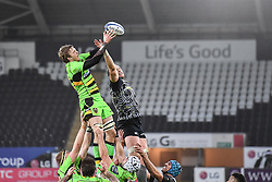 Northampton Saints' Jamie Gibson claims the lineout<br /> <br /> Photographer Craig Thomas/Replay Images<br /> <br /> EPCR Champions Cup Round 4 - Ospreys v Northampton Saints - Sunday 17th December 2017 - Parc y Scarlets - Llanelli<br /> <br /> World Copyright © 2017 Replay Images. All rights reserved. info@replayimages.co.uk - www.replayimages.co.uk