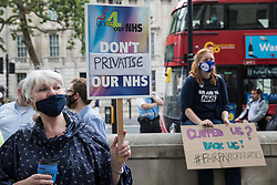 London, UK. 3rd July, 2021. NHS workers and supporters take part in a protest rally opposite Downing Street as part of a national day of action to mark the 73rd birthday of the National Health Service. The protesters called for fair pay for NHS workers, for better funding of the NHS and for an end to privatisation measures affecting the NHS.