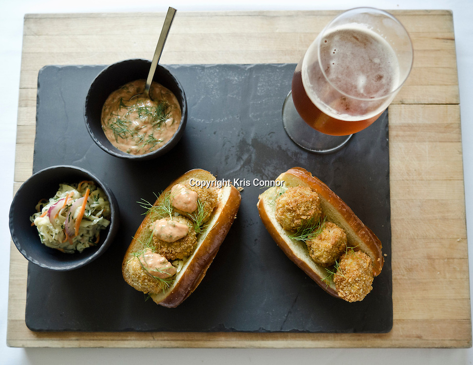 Chef Bryan Voltaggio's take on the Oyster po'boy, will soon be served at his restaurant Family Meal in Frederick, Md. on July 12th, 2012. Photo by Kris Connor