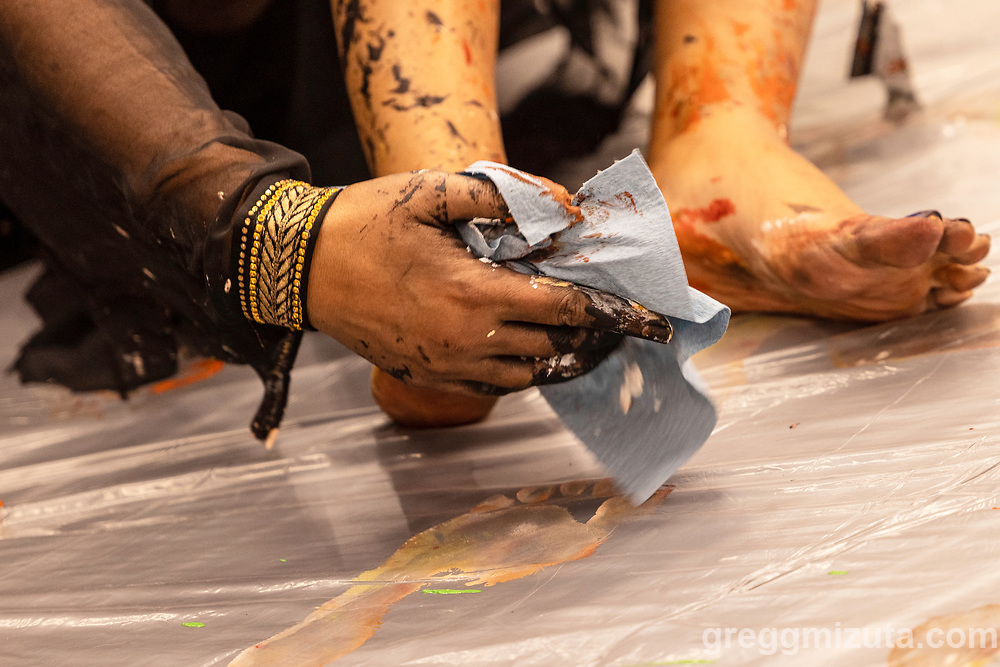 """Multimedia Iraqi-American artist Luma Jasim collaborates with musician Blake K. Green  to produce an Artfort performance """"Silence-Strangeness-Movement"""" that combines improvised live large-scale painting, video, narrative, and music at LED in Boise, Idaho on September 24, 2021.<br /> <br /> Luma Jasim is an interdisciplinary Iraqi-born artist; immigrated to the US in 2008. Her education includes MA in Graphic Design from The University of Baghdad, Academy of Fine Arts, BFA in Visual Arts from BSU, 2013, MFA in Fine Arts from Parsons School of Design, The New School, New York, NY, 2017.<br /> <br /> Jasim is a recipient of the Juror merit award for the 2020 Idaho Triennial at BAM. She has completed many artist residencies and fellowships, including the MDOCS Storytellers' Institute fellowship, NY (2019), Yaddo Residency, NY (2018), Surel's Place Residencey, ID (2018), The MASS MoCA Residency, MA (2017), and The AAF (The American Austrian Foundation)/ Seebacher Prize for Fine Arts, Sulzburg, Austria (2017).<br /> <br /> In 2018 her work was Shortlisted for The Tenth Passion For Freedom London Arts Festival, London, UK. Recently she has been nominated to participate at The Expo 2020 Dubai, UAE by Global Ties U.S."""