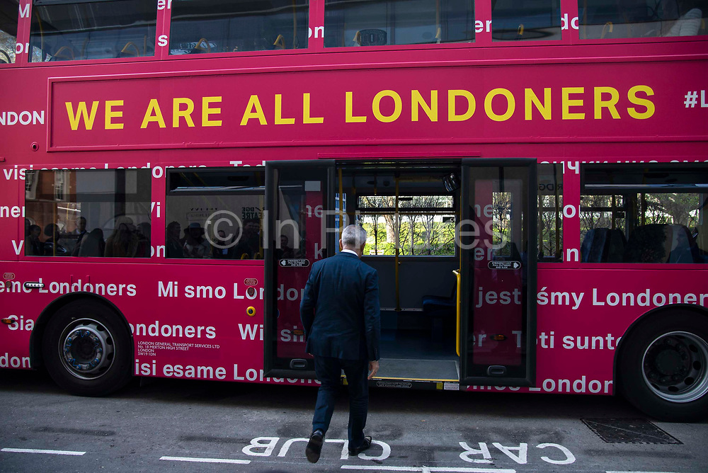 Mayor of London Sadiq Khan  at a photocall for his We are all Londoners bus that will provide advice across the capital on Settled Status applications opposite City Hall in London, England, United Kingdom on 29th March 2019. Most European citizens currently living in Britain will need to apply for settled status or pre-settled status depending on how long they have been living and working here and to claim benefits after Brexit. EU nationals who can prove residency for five years will be granted so-called settled status until the end of 2020. Those in Britain for less time can apply for the pre-settled category which will allow them to remain until they reach the five year mark and can then reapply for settled status.