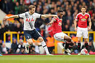 Eric Dier of Tottenham Hotspur intercepts Timothy Fosu-Mensah of Manchester United. Barclays Premier league match, Tottenham Hotspur v Manchester Utd at White Hart Lane in London on Sunday 10th April 2016.<br /> pic by John Patrick Fletcher, Andrew Orchard sports photography.