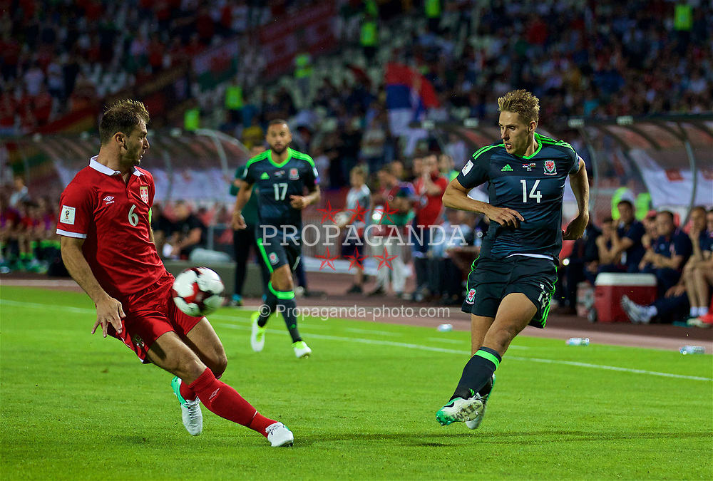 BELGRADE, SERBIA - Sunday, June 11, 2017: Wales' David Edwards during the 2018 FIFA World Cup Qualifying Group D match between Wales and Serbia at the Red Star Stadium. (Pic by David Rawcliffe/Propaganda)