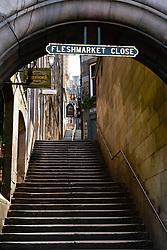 View of empty Fleshmarket Close in Edinburgh Old Town, Scotland, UK