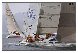 The first mornings racing at the Bell Lawrie Yachting Series in Tarbert Loch Fyne .Damp and light conditions made the conditions challenging for the competitors...Class three's overall winner Enigma a Sigma 38 GBR8272 with previous Scottish series winner  Howard Morrison..