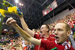 Supporters of Veszprem during handball match between RK Celje Pivovarna Lasko (SLO) and MKB Veszprem KS (HUN) in 7th Round of Group B of EHF Champions League 2012/13 on December 1, 2012 in Arena Zlatorog, Celje, Slovenia. Veszprem defeated Celje PL 24-19. (Photo By Vid Ponikvar / Sportida)