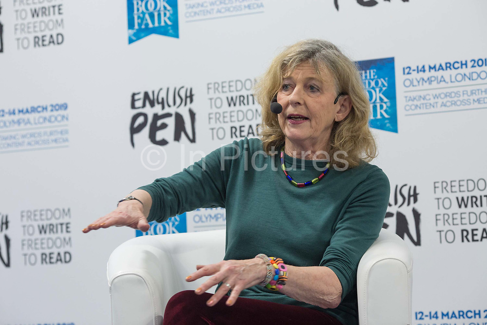 Author Deborah Moggach in conversation with Antonia Byatt during day one of the London Book Fair at Kensington Olympia on the 12th March 2019 in London in the United Kingdom.