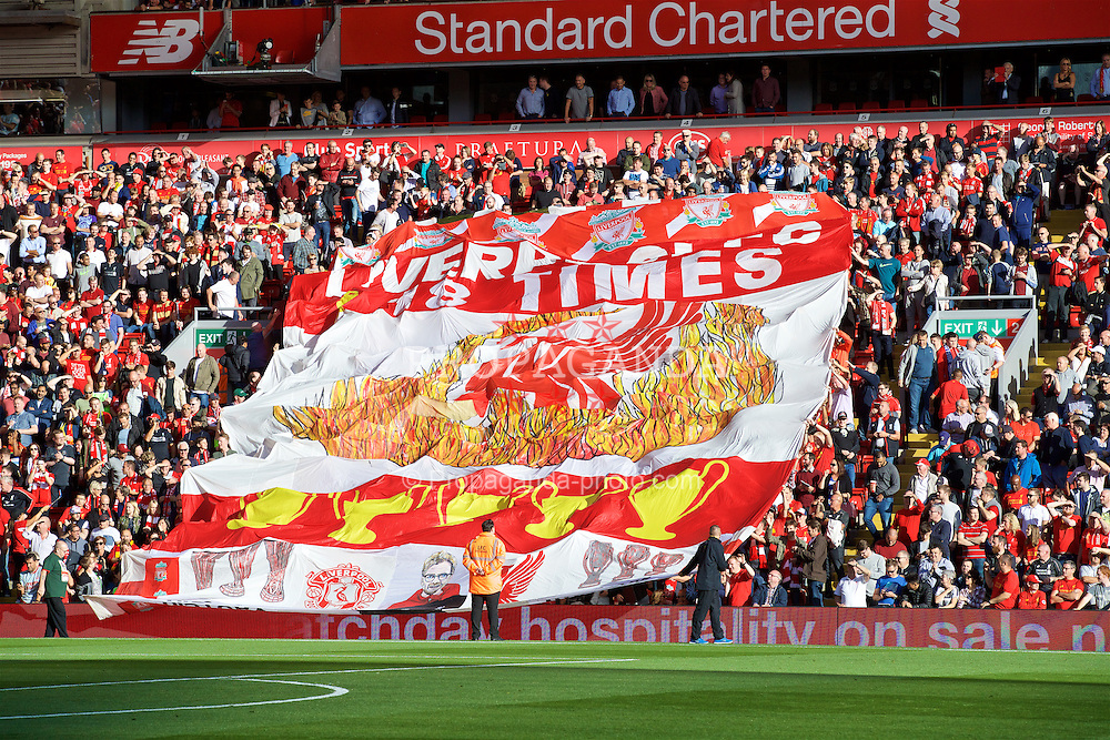 LIVERPOOL, ENGLAND - Saturday, September 10, 2016: A large Liverpool supporters' banner in the Centenary Stand during the FA Premier League match against Leicester City at Anfield. (Pic by David Rawcliffe/Propaganda)