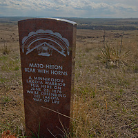 Headstones mark where Indians died while attacking General George Custer's 7th Calvary at Little Bighorn Battlefield National Monument on June 25, 1876.