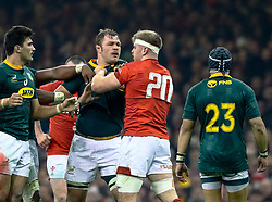 Aaron Wainwright of Wales squares up to Duane Vermeulen of South Africa<br /> <br /> Photographer Simon King/Replay Images<br /> <br /> Under Armour Series - Wales v South Africa - Saturday 24th November 2018 - Principality Stadium - Cardiff<br /> <br /> World Copyright © Replay Images . All rights reserved. info@replayimages.co.uk - http://replayimages.co.uk