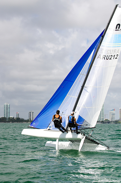Miami, USA, February 1, 2014 - The brother and sister team of Nicole Van der Velden and Thijs Visser sailed for Aruba.   Olympic hopefuls proceed next to ISAF events in Mallorca, Hyeres, and Santander in order to qualify their nations to compete in the 2016 Olympic Summer Games in Rio de Janeiro.