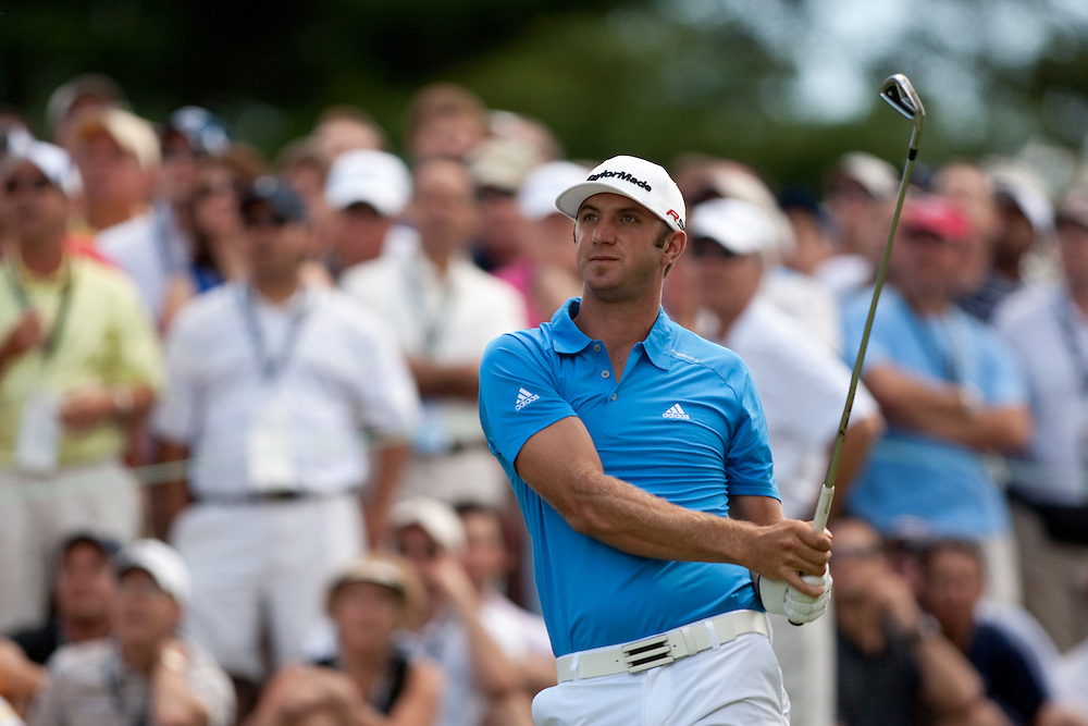 NEWTOWN SQUARE, PA - JULY 2: Dustin Johnson  plays a shot during the second round of the AT&T National Classic at Aronimink Golf Club on July 2, 2010 in Newtown Square, Pennsylvania. (Photo by Darren Carroll) *** Local Caption *** Dustin Johnson