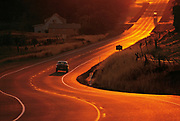 Steinbeck's America, Travels with Charley, USA, Landscape, Travel, and Nature Photography by Randy Wells, Images of America, Image of a winding road along the Columbia Gorge at sunset, Washington, Pacific Northwest