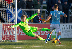 Forfar Athletic's keeper Marc McCallum. Forfar Athletic 3 v 2 Raith Rovers, Scottish Football League Division One played 27/10/2018 at Forfar Athletic's home ground, Station Park, Forfar.