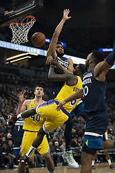 January 6, 2019 - Minneapolis, MN, USA - Minnesota Timberwolves center Karl-Anthony Towns (32) is fouled Los Angeles Lakers guard Lance Stephenson (6) in the fourth quarter on Sunday, Jan. 6, 2019 at Target Center in Minneapolis, Minn. The Minnesota Timberwolves defeated the Los Angeles Lakers, 108-86. (Credit Image: © Jeff Wheeler/Minneapolis Star Tribune/TNS via ZUMA Wire)