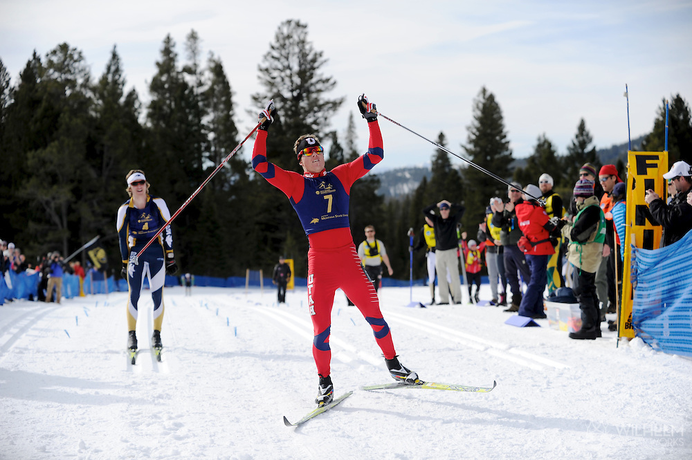 09 MAR 2012:  Miles Havlick (7) of the University of Utah edges David Norris (4) of Montana State University at the finish during the Men's Cross Country Classical event at the NCAA Division I Men and Women's Ski Championship held at Bohart Ranch hosted by Montana State University in Bozeman, MT. Havlick placed 1st to win the national title while Norris placed 2nd. © Brett Wilhelm