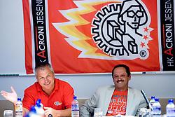 Ildar Rahmatullin and Zvone Suvak at press conference of HK Acroni Jesenice before new season 2009/2010, on July 23 2009, in Jesenice, Slovenia. (Photo by Vid Ponikvar / Sportida)