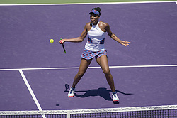 March 25, 2018 - Miami, FL, United States - KEY BISCAYNE, FL - March, 25: Venus Williams (USA) in action here,  plays Kiki Bertens (NED) at the 2018 Miami Open held at the Tennis Center at Crandon Park.   Credit: Andrew Patron/Zuma Wire (Credit Image: © Andrew Patron via ZUMA Wire)