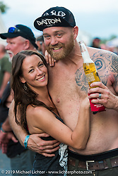 Nicole and Sean Clark Friday afternoon at the Smokeout (in 2015,) Rockingham, NC. USA. June 19, 2015.  Photography ©2015 Michael Lichter.