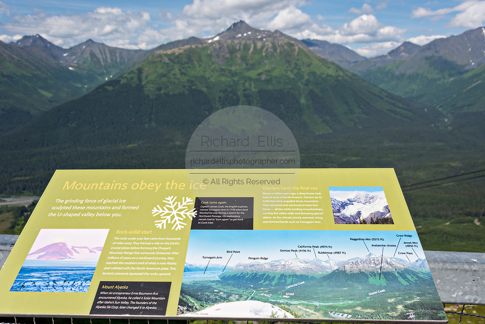 Sign pointing out the sights from the observation deck on the summit of Mt. Alyeska in Girdwood, Alaska. The surrounding Chugach Mountains feature seven hanging glaciers.
