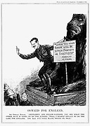 Oswald for England': Oswald Ernald Mosley (1896-1980) English politician, successively Conservative, Independent and Labour (Socialist). Best remembered as leader of the English Fascist movement and the Black Shirts.  Shown here addressing a crowd from the plinth of one of the lions in Trafalgar Square, London. Cartoon from 'Punch', London.