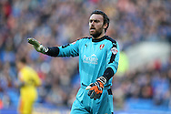 Lee Camp, the Rotherham Utd goalkeeper looks on. Skybet football league championship match, Cardiff city v Rotherham Utd at the Cardiff city stadium in Cardiff, South Wales on  Saturday 23rd January 2016.<br /> pic by  Andrew Orchard, Andrew Orchard sports photography.