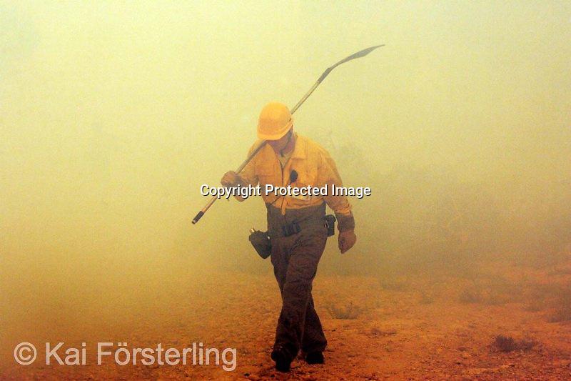 Valencia, 22/06/05. Un brigada forestal emerge entre el humo producido por el incendio forestal en L´Olleria que se originó anoche en Jativa.