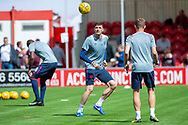 Kyle Lafferty of Heart of Midlothian and Steven MacLean of Heart of Midlothian warm up before the Ladbrokes Scottish Premiership League match between Hamilton Academical FC and Heart of Midlothian FC at New Douglas Park, Hamilton, Scotland on 4 August 2018. Picture by Malcolm Mackenzie.