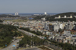 October 30, 2017 - Pyeongchang, Gangwon, South Korea - Oct 30, 2017-Pyeongchang, South Korea-A general view Gangneung city scape, view from the athlatic house top roof on October 30, 2017 in Gangneung, South Korea. (Credit Image: © Ryu Seung Il via ZUMA Wire)