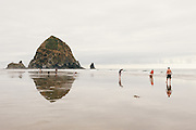 People playing with surfboards on Cannon Beach, OR