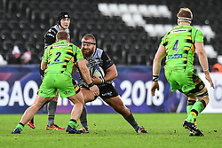 Ospreys' Dimitri Arhip is tackled by Northampton Saints' Mike Haywood<br /> <br /> Photographer Craig Thomas/Replay Images<br /> <br /> EPCR Champions Cup Round 4 - Ospreys v Northampton Saints - Sunday 17th December 2017 - Parc y Scarlets - Llanelli<br /> <br /> World Copyright © 2017 Replay Images. All rights reserved. info@replayimages.co.uk - www.replayimages.co.uk