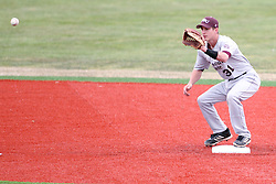 06 April 2013:  Shortstop Travis McCormack mans second base an misses a tag for a pick off on runner Brett Kay during an NCAA division 1 Missouri Valley Conference (MVC) Baseball game between the Missouri State Bears and the Illinois State Redbirds in Duffy Bass Field, Normal IL