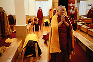 Daily morning Prosternations in Geden Choeling Nunnery, India